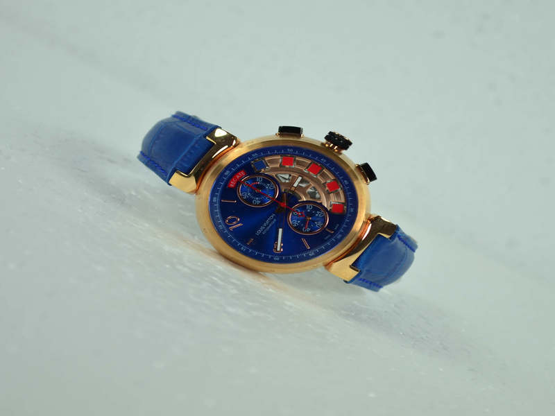 Louis Vuitton Gold Blue Watch
